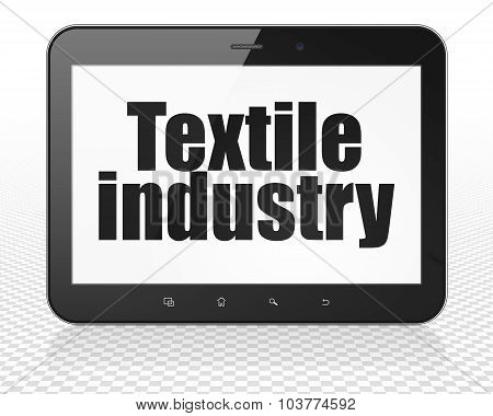 Industry concept: Tablet Pc Computer with Textile Industry on display