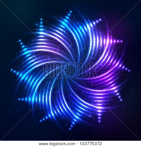 Bright shining blue neon spiral at dark cosmic background