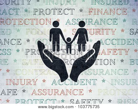 Insurance concept: Family And Palm on Digital Paper background