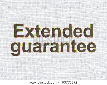 Insurance concept: Extended Guarantee on fabric texture background