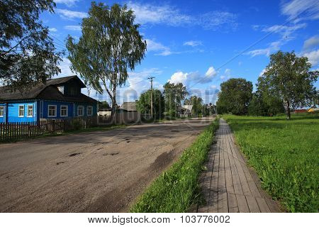 Street in the ancient town of Kargopol. North Russia
