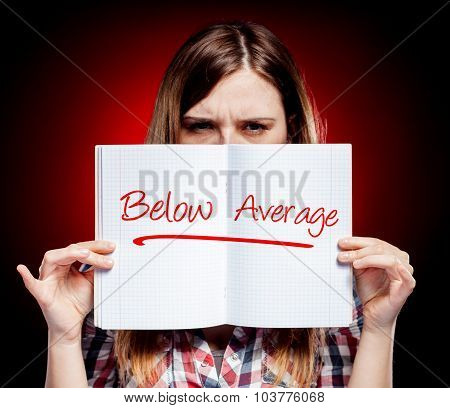 Evaluation Below Average, Disappointed Woman