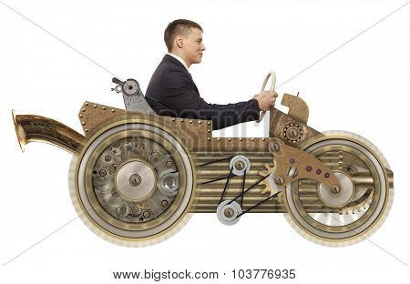 Young businessman driving fast on a toy car. Steampunk style. Photo compilation