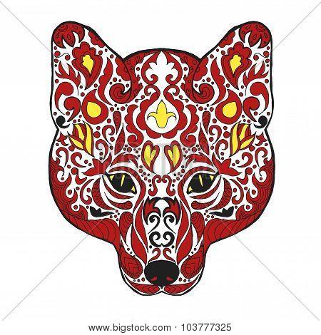Zentangle stylized fox head. Sketch for tattoo or t-shirt.
