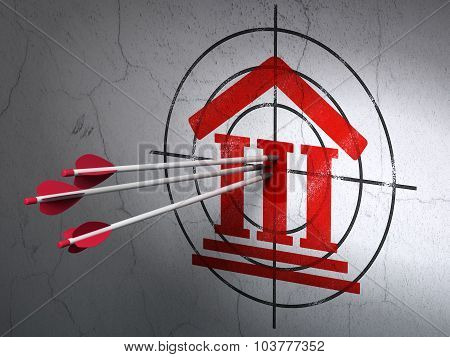 Law concept: arrows in Courthouse target on wall background