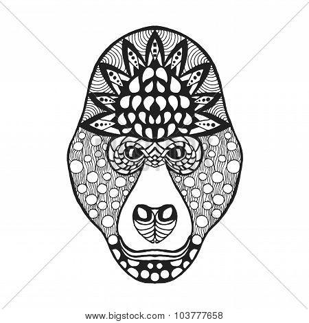 Zentangle stylized gorilla head. Sketch for tattoo or t-shirt.
