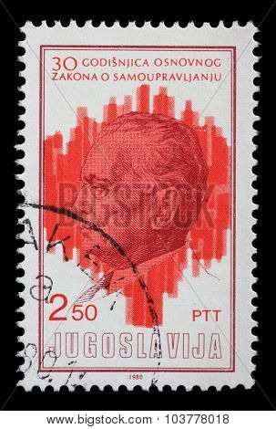 YUGOSLAVIA - CIRCA 1980: A stamp printed by Yugoslavia dedicated to the 30th anniversary of the Ground Principles of Self Governing System, circa 1980.