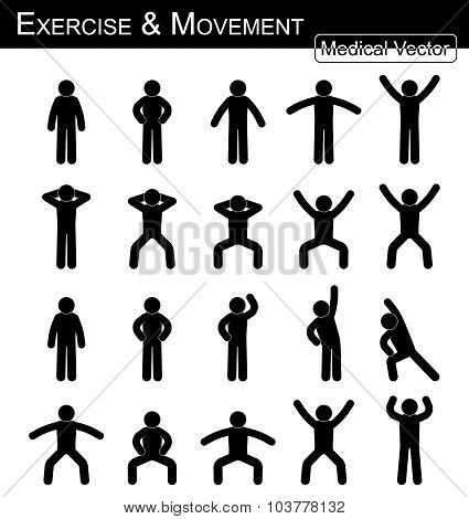 Exercise And Movement ( Move Step By Step )( Simple Flat Stick Man Vector )