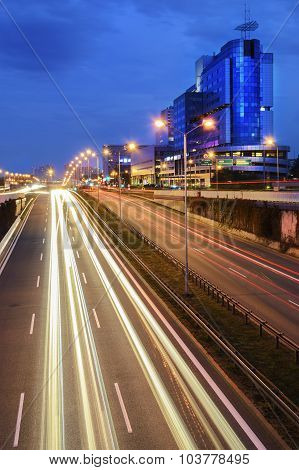Freeway In Centre Of Katowice In The Evening.