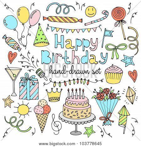 Happy birthday set. Hand drawn collection
