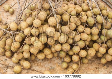 Closeup Longan Fruit Orchards In Threshing Basket, Soft Focus