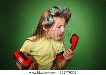 Crazy Little Girl Hosewife Screaming Into The Phone