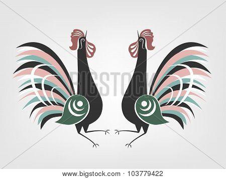 Gorodets cocks folk painting.