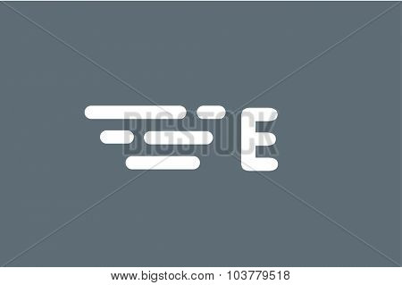 Fast line E letter logo monogram. E and lines monogram. Vector E line letter e letter design. Abstract e letter. Motion lines. E line symbol. Thin line style. Transport delivery E motion icon