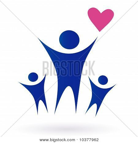 Family, Health and Community icon isolated on white
