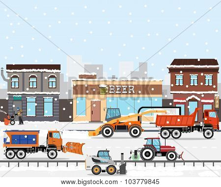 Heavy Equipment cleans the road in the storm of snow in the city. Snow removers. Road works. Vector