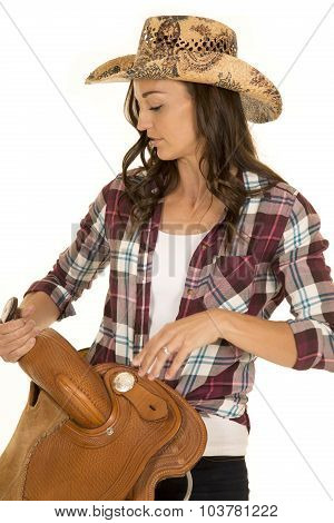 Cowgirl Plaid Shirt Hat Hold Saddle Close