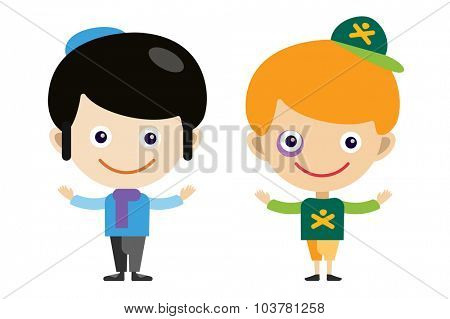Jew boy and bully cartoon vector boys in different costumes. Boys characters countries of the world, in national costumes. Vector cartoon boys. Kid boys isolated. Children vector people. Vector kids