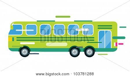 City bus cartoon style vector. Bus icon silhouette. Bus vector cartoon silhouette. Bus mobile fast city transport. Bus fast moving. Green bus vector illustration. Vector bus object isolated