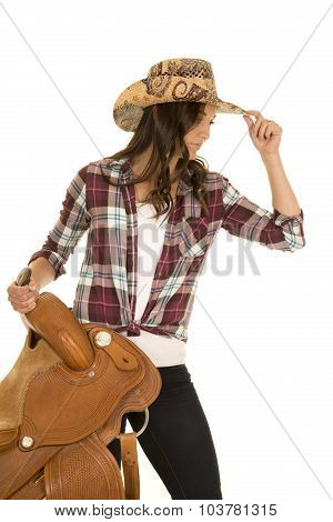 Cowgirl Plaid Shirt Hat Hold Saddle Touch Hat