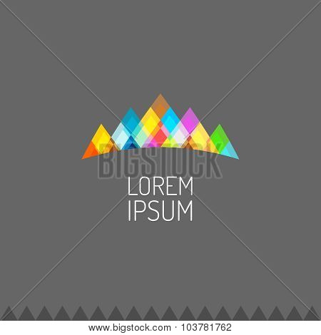 Vivid Colors Mountains Logo Or Celebrity Crown Sign