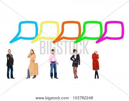 Standing and Talking Speech Bubbles