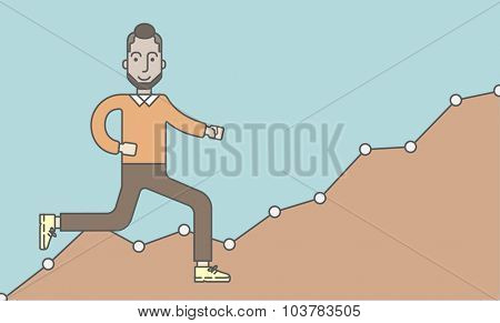 Cheerful caucasian businessman running along the growth graph. Vector line design illustration. Horizontal layout with a text space.