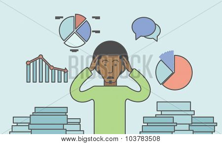 A black businessman with falling down chart is confused. Bankruptcy concept. Vector line design illustration. Horizontal layout with a text space.