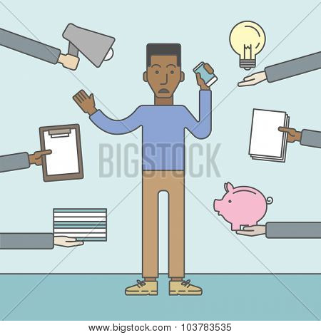 A black businessman confused having a lot to do. Vector line design illustration. Square layout.