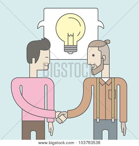 Two caucasian men standing facing each other handshaking for the successful business deal. Business partnership concept. Vector line design illustration. Square layout.