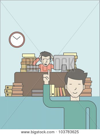 Businessman sitting at workplace in office and looking at boss pointing at clock. Deadline concept. Vector line design illustration. Vertical layout with a text space.