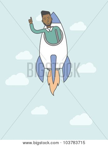 A black man flying in the rocket raising his hand in the air. Start up business concept. Vector line design illustration. Vertical layout with a text space.