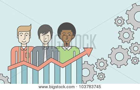 Three businessmen standing over growing chart. Perspective business concept. Vector line design illustration. Horizontal layout with a text space.