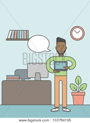 A black man standing in office and pointing at the laptop. Vector line design illustration. Vertical layout with a text space.
