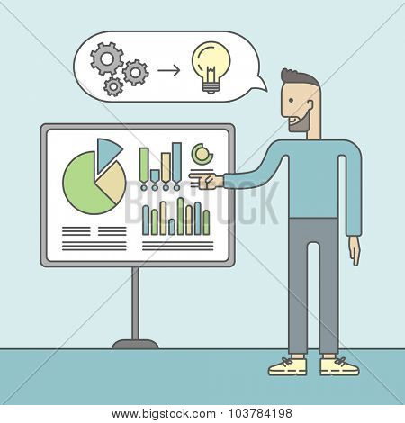 The man with a beard presenting his report through infographics in office. Reporting concept. Vector line design illustration. Square layout.
