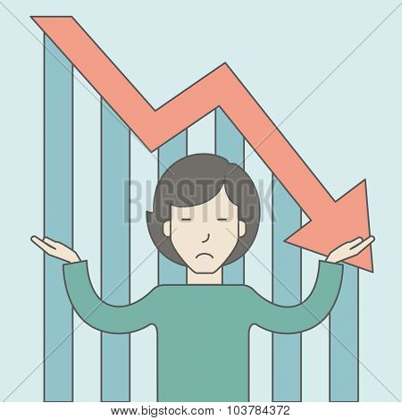 An asian business woman with falling down graph is confused. Bankruptcy concept. Vector line design illustration. Square layout.