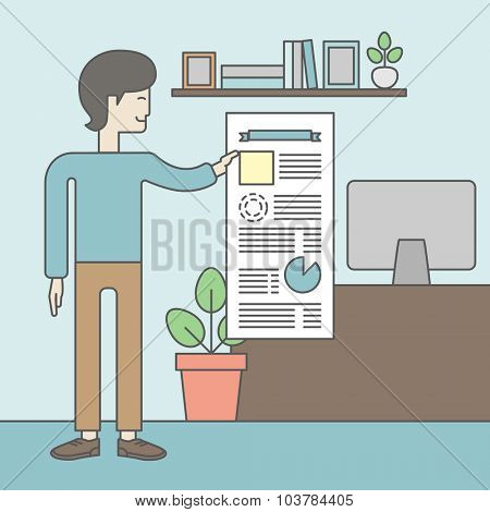 A man standing inside office showing his complete paperwork. Reporting concept. Vector line design illustration. Square layout.
