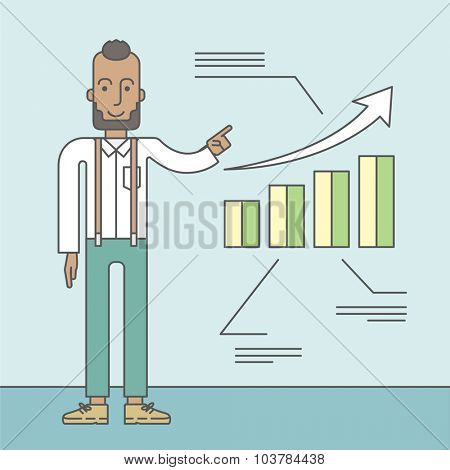 The man with a beard presenting his report through infographic. Reporting concept. Vector line design illustration. Square layout.