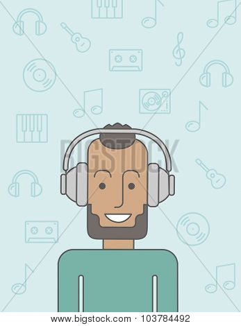 Happy black man listening to music with headphone. Vector line design illustration. Vertical layout with a text space.