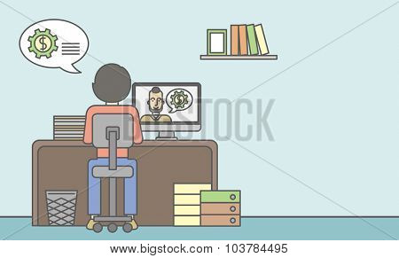 Man sitting inside the office and talking with other man using video chat. Communication concept. Vector line design illustration. Horizontal layout with a text space.
