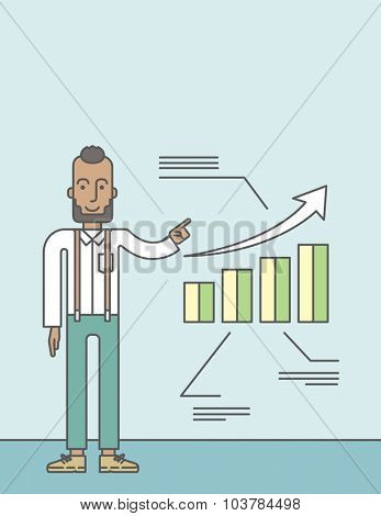 The man with a beard presenting his report through infographic. Reporting concept. Vector line design illustration. Vertical layout with a text space.