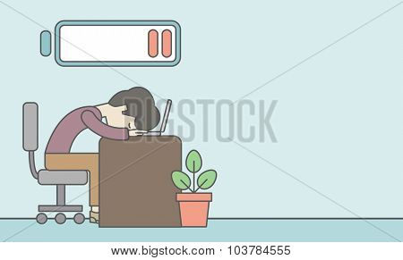Tired employee sitting, lying on table with low power battery sign over his head. Vector line design illustration. Horizontal layout with a text space.