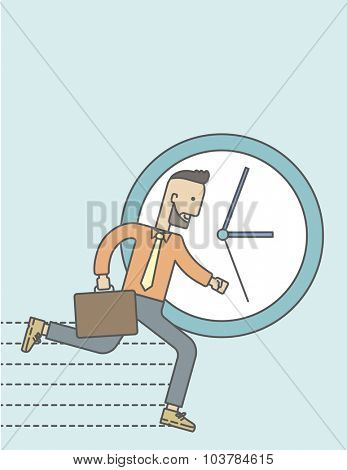 Businessman running on clock background. Vector line design illustration. Vertical layout with a text space.