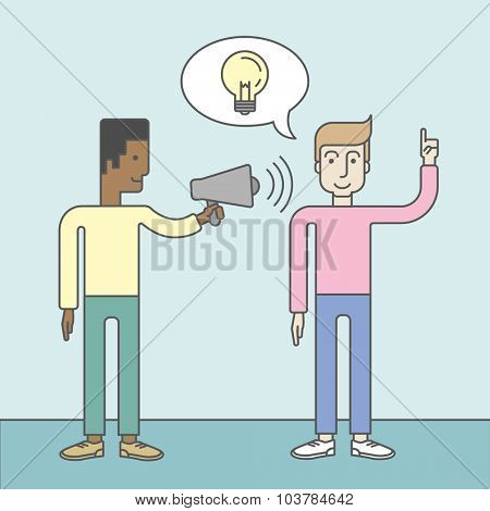 An african businessman holding a megaphone and caucasian man pointing at light bulb. Announcement concept. Vector line design illustration. Square layout.