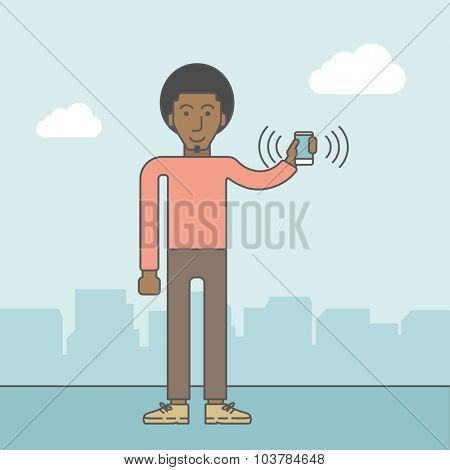 An office worker holding his smartphone vibrating. Vector line design illustration. Square layout.