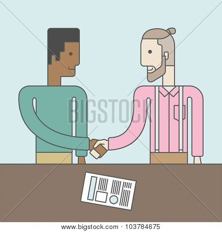 Two men standing facing each other handshaking for the successful business deal. Business partnership concept. Vector line design illustration. Square layout.