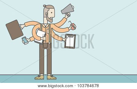 A caucasian businessman with many hands confused having a lot to do. Vector line design illustration. Horizontal layout with a text space.