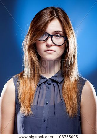 Disappointed Young Woman With Nerd Glasses, Confused Girl
