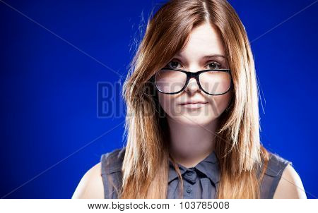 Disappointed Young Woman With Nerd Glasses, Strict Girl
