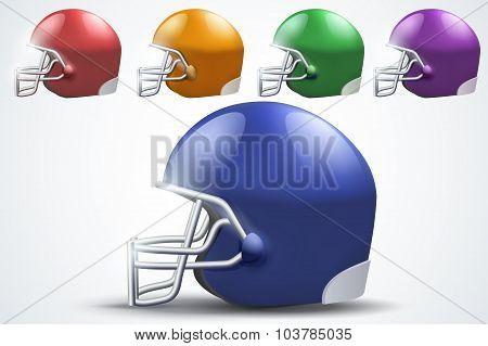 Set of American football helmet. Side view.